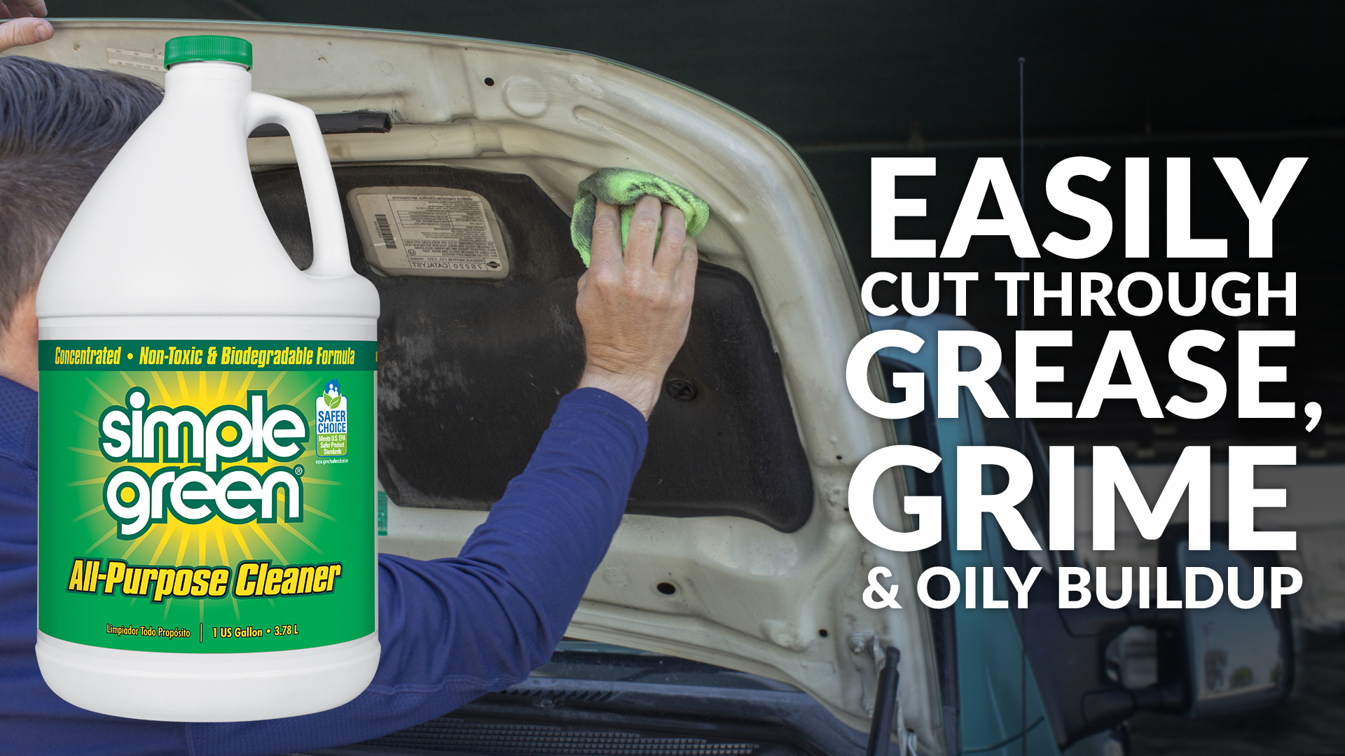 Easily cut through grease, grim, and oily buildup
