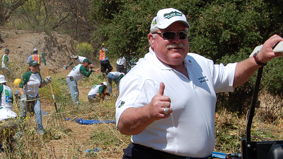 2008: Bruce FaBrizio, shown here at a Griffith Park clean-up, is selected at LA Conservation Corps' Corporate Honoree.